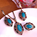 Luxurious Turkish Jewelry sets Women Fine Bridal Necklace Blue Turquoise Jewelry Sets Vintage Turkish Antique Gold Neclace Sets