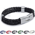 12mm MENS Womens Hot Sale Black Rope Surfer Wrap Fashion Wristband Leather Bracelet Wholesale Gift 8inch Jewelry LLBM40