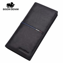BISON DENIM fashion genuine leather men wallets long slim bifold wallet business male card holder purse