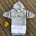 2017 Hot Spring and Autumn Totoro Sweatshirts Women Hoodies Suit Cartoon Print Patchwork Pullover  with Pockets Gray