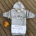 2017 Primavera y El Otoño Caliente Totoro Sudaderas Hoodies de Las Mujeres Traje de Impresión de Dibujos Animados Patchwork Suéter con Bolsillos Gris