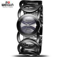 WEIQIN Black Clock Women Watches Luxury Brand High Quality Montre Femme Stainless Steel 2017 Dress Woman