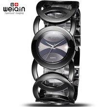 Weiqin negro montre femme reloj mujer relojes de marca de lujo de alta calidad de acero inoxidable 2017 vestido de mujer de pulsera de cuarzo relojes