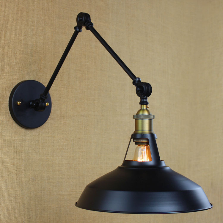 LEDream Wrought iron pot loft long arm folded the modern retro black wall lamp edison bulb E27 light lamp holder industrial wind bar the tables and chairs chair wrought iron pot of stool