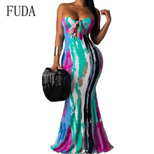 FUDA Print Summer Casual Beach Sundress Women Sexy Off Shoulder Maxi Dress Hollow Out Strapless Party Long Dress Robe Female stylish strapless sleeveless flower print women s maxi dress