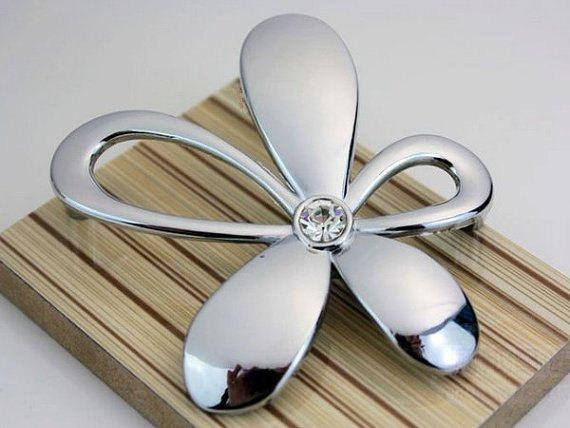 2.5 Silver Glass Dresser Pulls Drawer Pulls Knobs Handle Crystal Cabinet Handle Rhinestone Flower Furniture Knobs Hardware 64mm css clear crystal glass cabinet drawer door knobs handles 30mm
