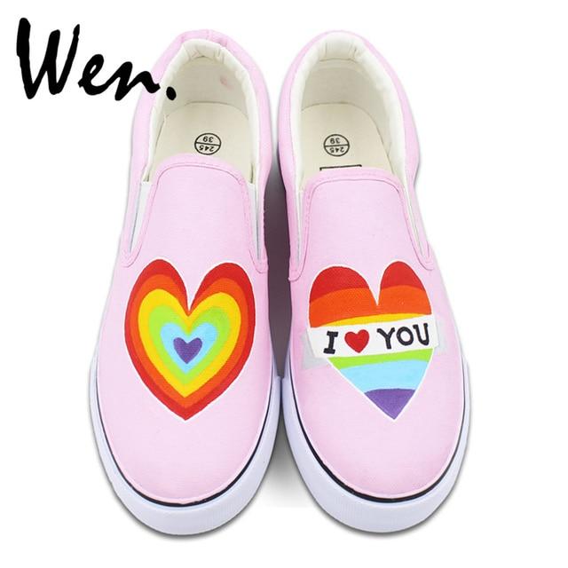 Wen diseño Original Color del arco iris corazón pintado a mano ...