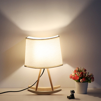 MDWELL Amerikanischen Land Stil Kreative Tisch Lampe Nacht Tuch Shade Tisch Lichter Für Schlafzimmer Kunst Holz Beleuchtung Freies Verschiffen-in LED-Tischleuchten aus Licht & Beleuchtung bei