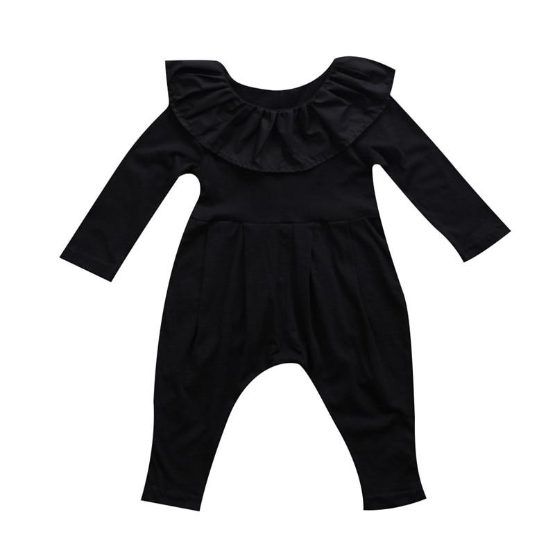 Creative Cute Newborn Baby Girls Ruffles Collar Long Sleeve Romper Harem Pants Clothes Sets Children Girls Black Rompers Jumpsuit 3-24m Strengthening Sinews And Bones Girls' Baby Clothing
