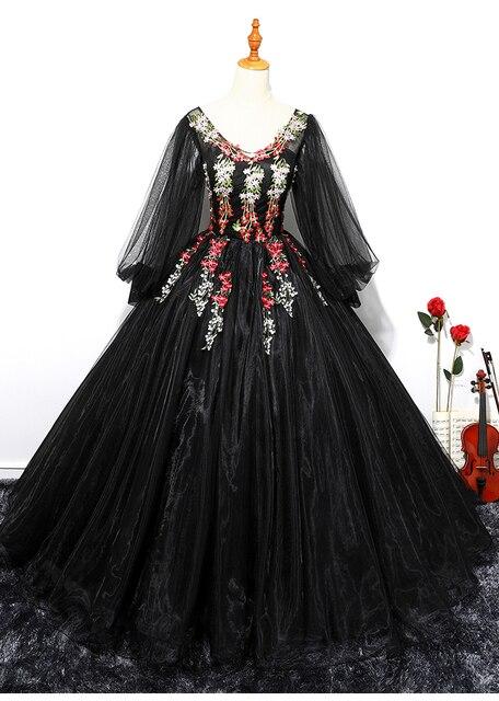 b32d48f36a8 Черный зеленый пузырь рукавом Косплей бальный наряд средневековой платье  эпохи Возрождения платье королевы викторианской готики