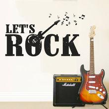 цена на Music Wall Sticker Lets Rock Guitar Electro Wall Decal Music Notes Band Wall Art Mural Home Decor Music Studio Wallpaper AY840