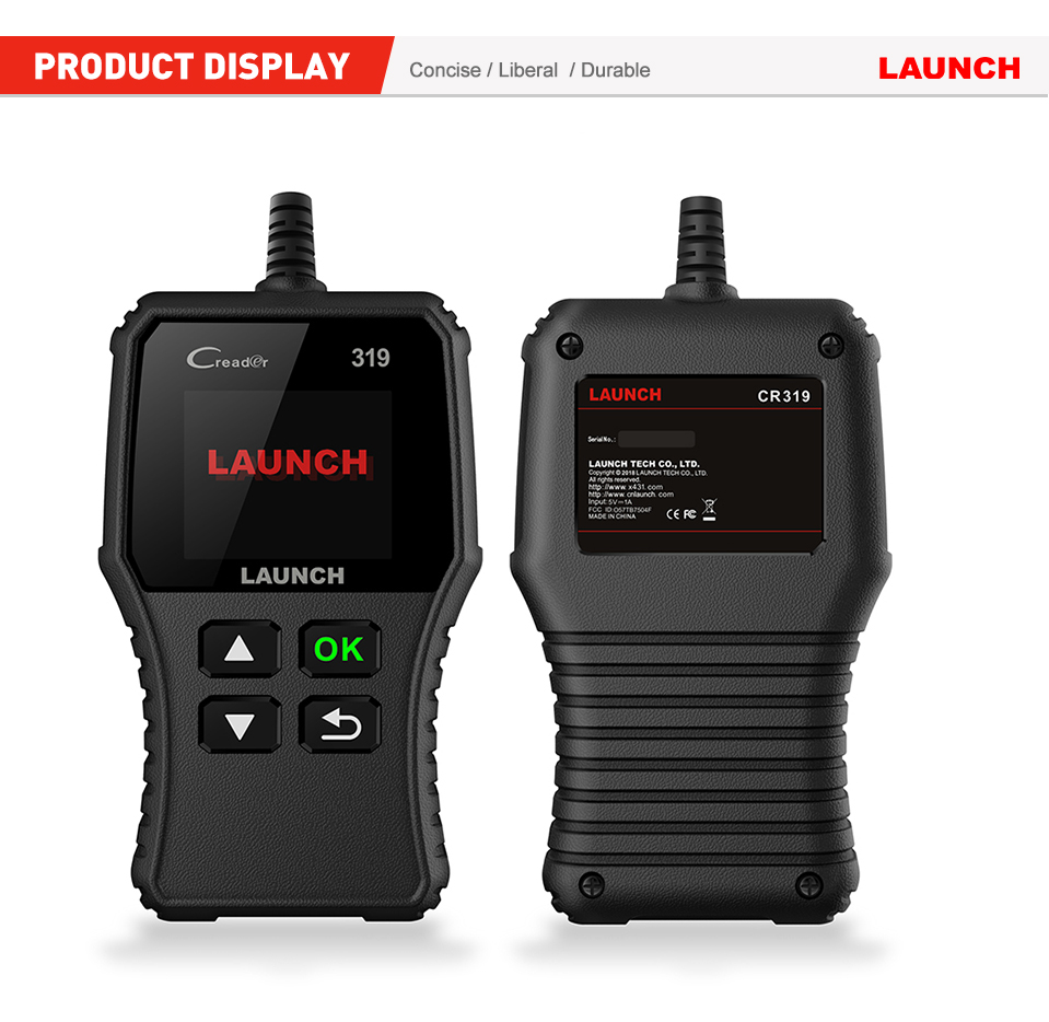 Launch X431 Creader 319 CR319 Auto Code Reader Full OBDII EOBD Automotive Diagnostic Tool OBD2 Scanner as Creader 6001 CR3001