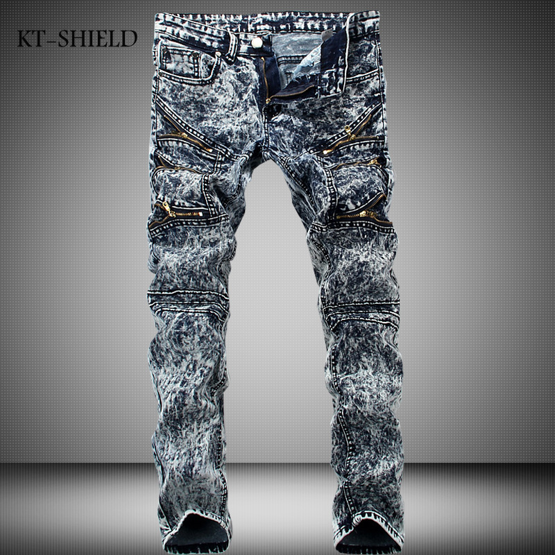 New Mens Motorcycle Biker Runway Jeans Snow Grey Denim Fashion man Casual trousers Hip Hop Slim hombre vaqueros Pantalones black jeans men biker ripped hip hop casual man denim pants trousers slim fashion full length cotton masculina pantalones hombre