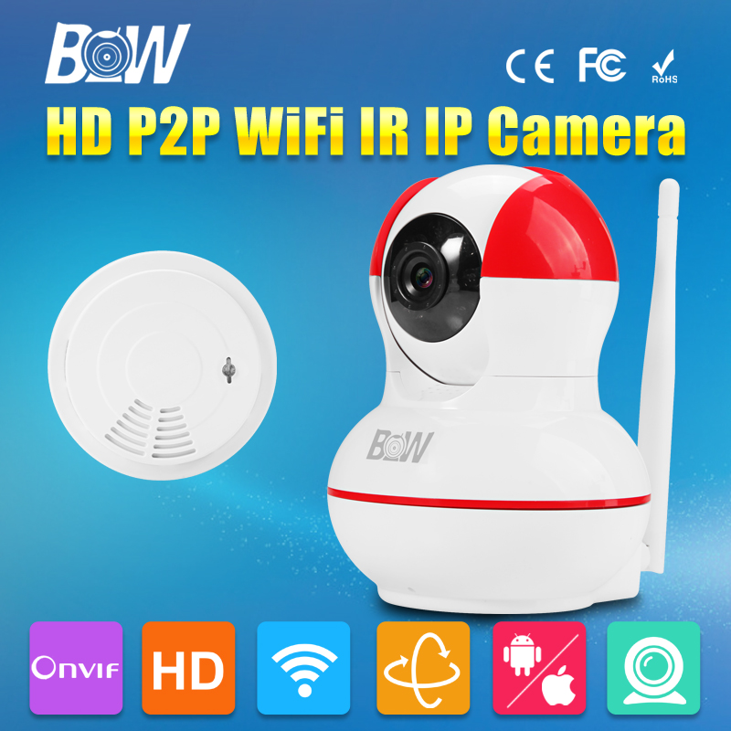 ФОТО BW HD 720P Wireless Mini IP Camera Wifi IR Cut Filter Megapixel Lens Automatic Sensor + Smoke Detector Alarm Security Home CCTV