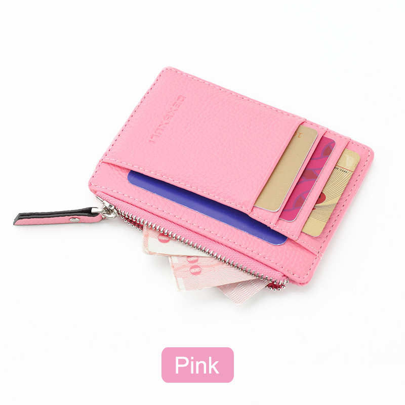 Women Men Lady Purse Zipper PU  Wallets  Small Mini Soft Thin For Money Card Coin AB@W3