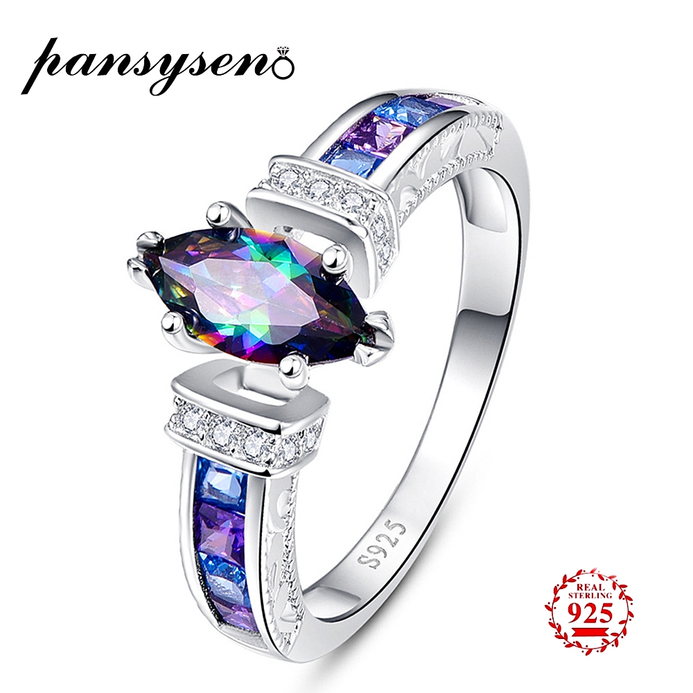 PANSYSEN  Silver 925 Jewelry Ring For Women Mens Fire Mystic Rainbow Topaz Rings Brand Mariquesa Gemstone Jewelry Christmas Gift