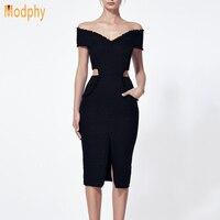 2017 New Women Dresses Black V Neck Bottom Split Off The Shoulder Celebrity Bandage Dress Vestidos