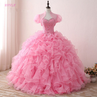 Pink Puffy 2019 Cheap Quinceanera Dresses Ball Gown Sweetheart With Jacket Organza Beaded Crystals Ruffles Sweet 16 Dresses