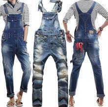 Джинсы новые 2015 настоящие мужчины оригинальный джинсовые комбинезоны европейский американский мода багги разорвал для мужчин хип-хоп брюки нагрудник брюки