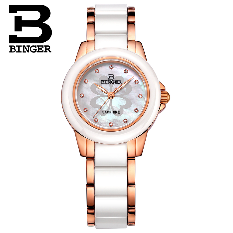 Ceramic Watch Fashion Casual Women Quartz Watches Relojes Mujer BINGER Brand Luxury Wristwatches Girl Elegant Dress Clock B1120 relojes mujer 2016 fashion luxury brand quartz men women casual watch dress watches women rhinestone japanese style quartz watch