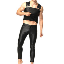 PU Leather Mens Sets High quality Male Clothing ( Pants + Tank top ) for Stage wear Club Fetish Collection Slim fitness