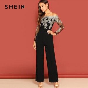 Image 4 - SHEIN Black Elegant Embroidery Sheer Mesh Off Shoulder Workwear Long Sleeve Straight Leg Jumpsuit Autumn Fashion Women Jumpsuits