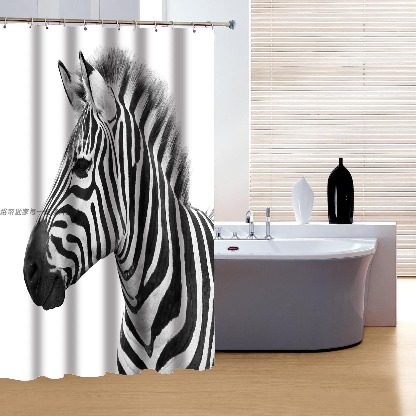With creative shower curtains white and black creative shower curtain - 3d Zebra Printing Polyester Shower Curtain Waterproof Creative Uniqe Shower Curtains Home Decoration Curtain Free Shipping