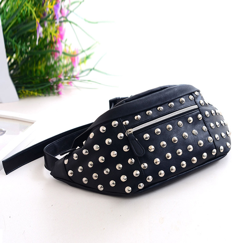 Funny Multifunctional Rivet Chest Pocket Bag Leisure Cool Waist Pack Reflective Chest Pack Laser Purse Money Phone Coin Pouch