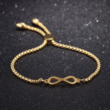 Fashion Infinite Bracelet Bangles For Women Rose Gold/Gold/steel Color box chain Length Adjustable Female Ladies Jewelry