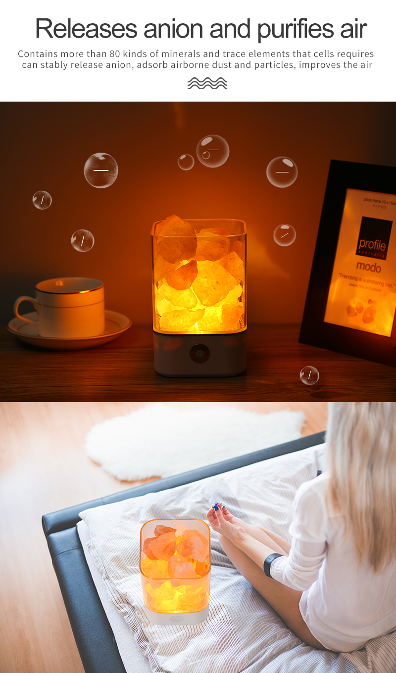 USB Crystal Light natural himalayan salt lamp led Lamp Air Purifier Mood Creator Indoor warm light table lamp bedroom lava lamp