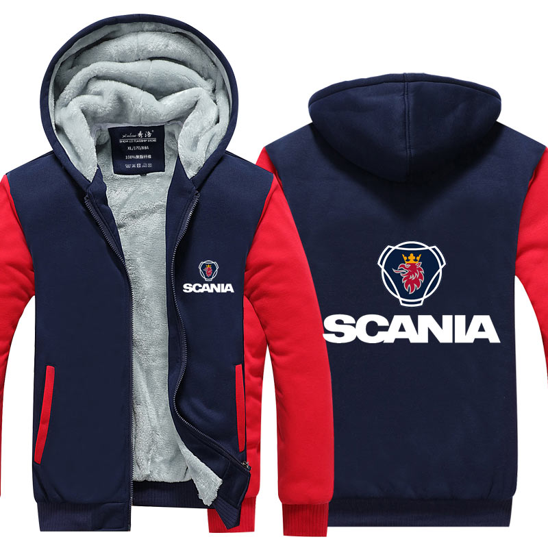Winter Casual Hooded Hoodies Scania Sweatshirt Zipper Men Thicken Coat Male