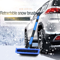 Multi Purpose Car Retractable Handle 102cm 120cm Ice Scraper Snow Brush 360 Rotated Brush Winter Cleaning