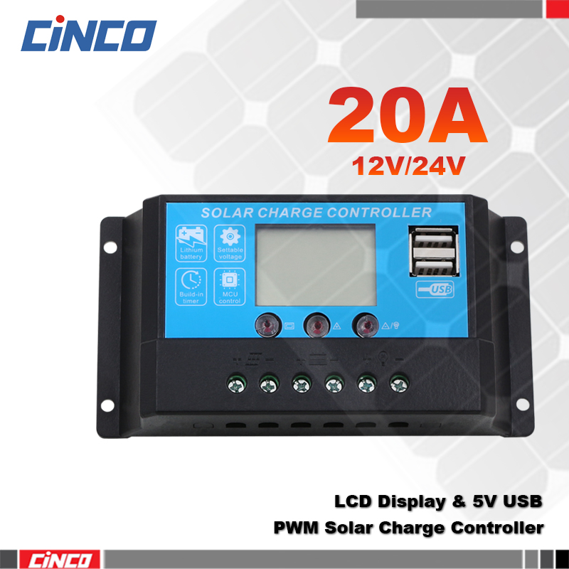 20A 12V 24V solar charge controller LCD 5VUSB solar panel charger to lithium battery AGM GEL