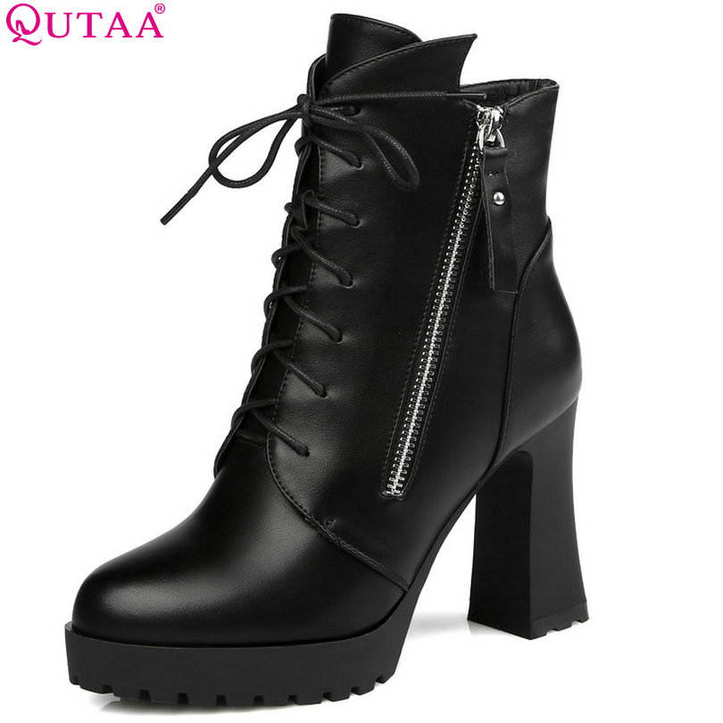 1aa029d2b QUTAA Elegant Black Women Shoes PU leather Square High Heel Ankle Boots  Punk Round Toe Women Motorcycle Boots Size 34-39