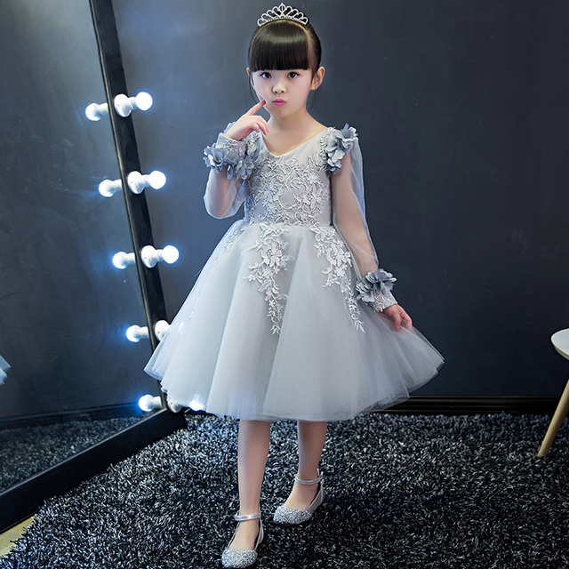 a0e5da9541 US $49.1 9% OFF|Aliexpress.com : Buy long sleeve flowers ball gown pink  tulle dress gray baby girl gowns birthday 2017 from Reliable girls gown ...