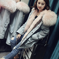 2016 Luxurious Noble Women Coat Fur Pink Detachable Real Fox Fur Collar And Real Fur Lining Female Slim Plus Size Coats Winter