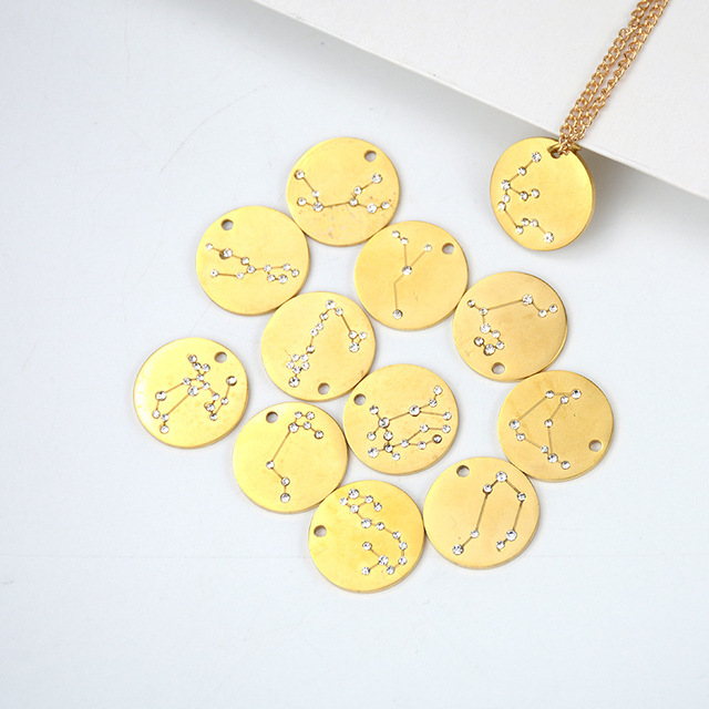 New Trendy Star Zodiac Sign Necklaces & Pendants Stainless Steel 12 Constellation Necklace for Women Birthday Gift Jewelry 3