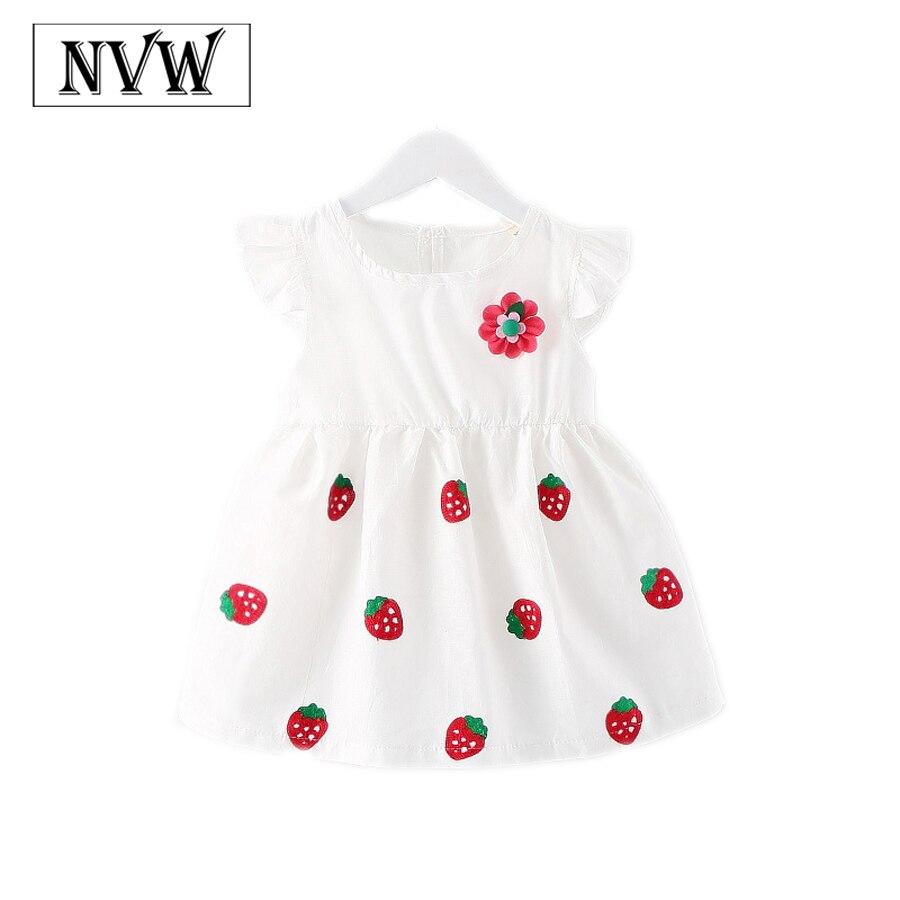 Femenina del verano del envío niñas bebés ropa de princesa con flores y fresas p