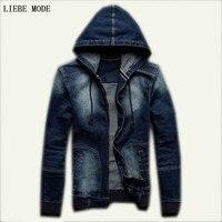 Full Sleeve Pad Hooded Denim Jacket Autumn Spring Men Casual Jeans Jacket Men Youth Jackets Mens