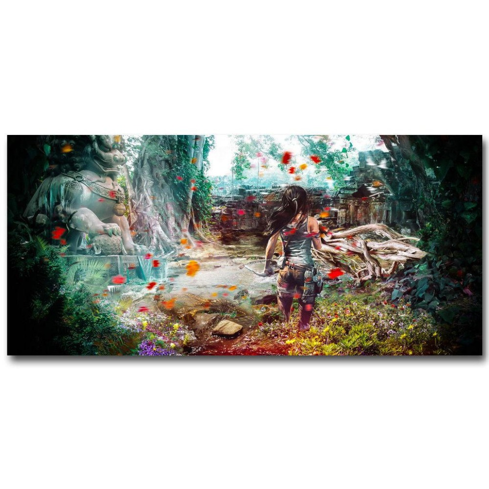 Rise Of The Tomb Raider Art Silk Fabric: Rise Of The Tomb Raider Game Wall Sticker Home Decoration