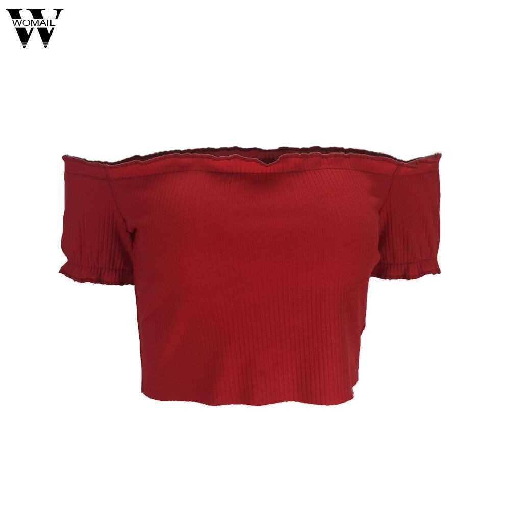 2018 נשים מכנסיים סקסיים מוצקים WOMAIL סטרפלס כבוי כתף חולצות T חולצה לנשים ללא שרוולים קצר May18 W20d30 Dropship