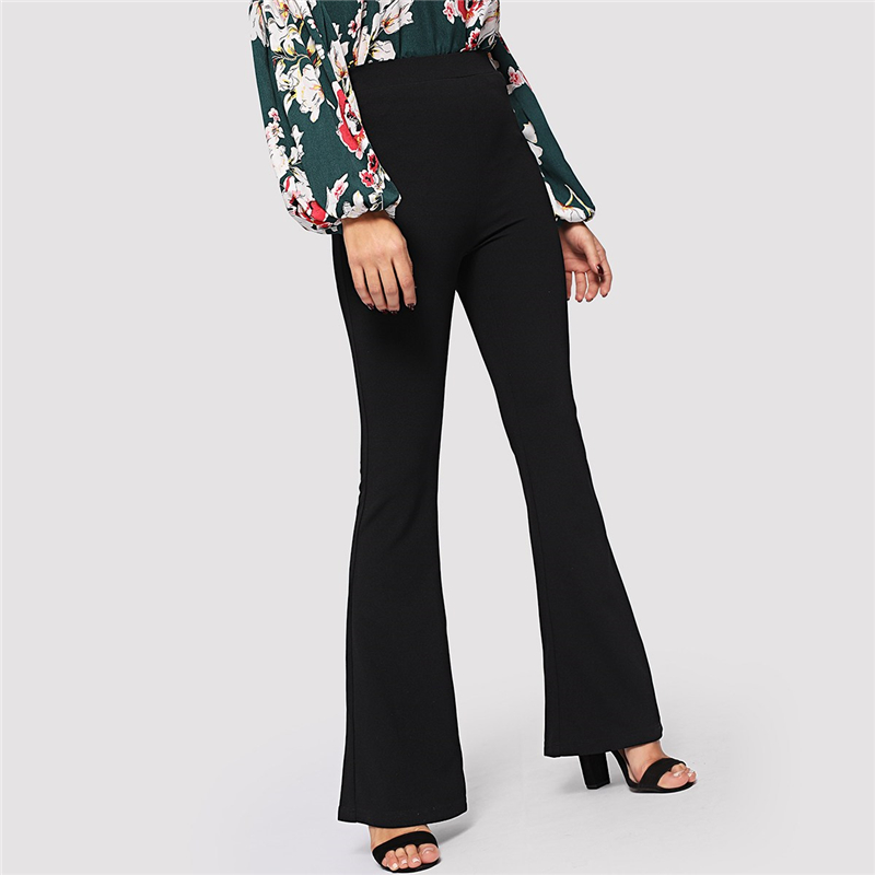 SHEIN Black Elegant Office Lady Elastic Waist Flare Hem Pants Casual Solid Minimalist Pants 19 Spring Women Pants Trousers 9