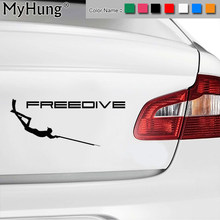 17.8CM*7.2CM Spear Fishing Vinyl Decals Wetsuit Pneumatic Speargun Freediving Snorkel Sticker For Universal Car Window Stickers(China)