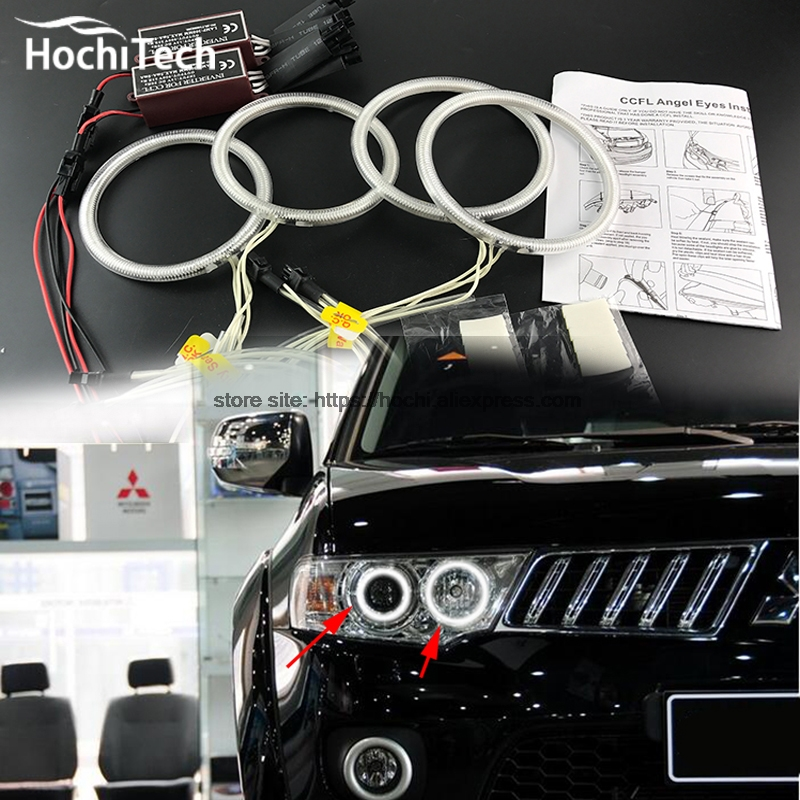 HochiTech ccfl angel eyes kit white 6000k ccfl halo rings headlight for Mitsubishi Challenger Montero Sport 2008-2016 for uaz patriot ccfl angel eyes rings kit non projector halo rings car eyes free shipping