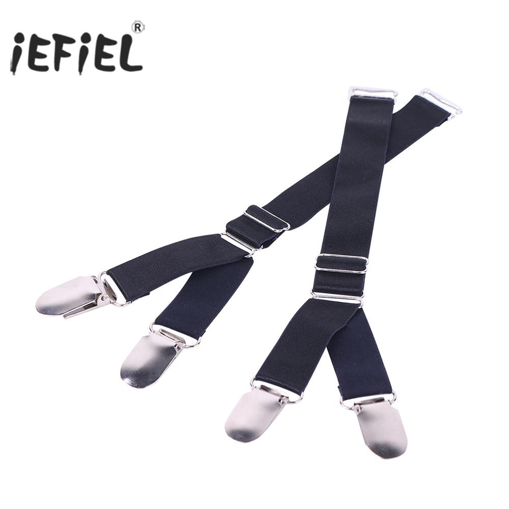 2/4PCS Y/I Style Unisex Elastic Garter Belt Shirt Stays Holder Socks Fastener Suspender