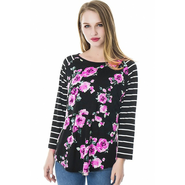 Women Mom Pregnant Nursing Maternity Long Sleeved Striped Floral Print Blouse Clothes Multi-Functional Breastfeeding Clothes