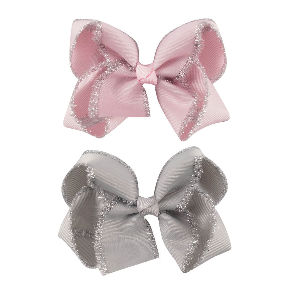 "2pcs/lot 4"" Kids' Head Accessories Solid Grosgrain Ribbon Hairbow with Clips Handmade Glitter Edge Hair Bow baby Girls' Headwear"