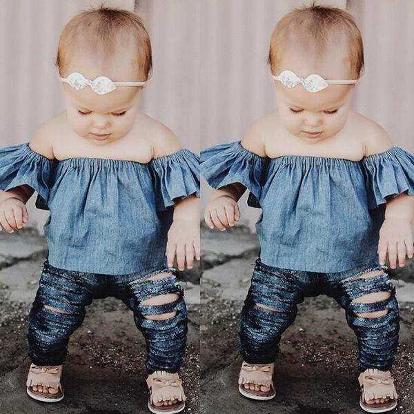 Baby Girls Blouses Fashion Toddler Infant Baby Kids Girls Off-shoulder Shirt Top