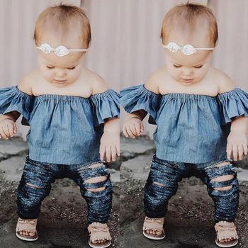 Crianças das Crianças Do Bebê Meninas Roupas Tops Pulôver de Manga Curta Tops T-shirt Off Ombro T-shirt Roupas de Menina