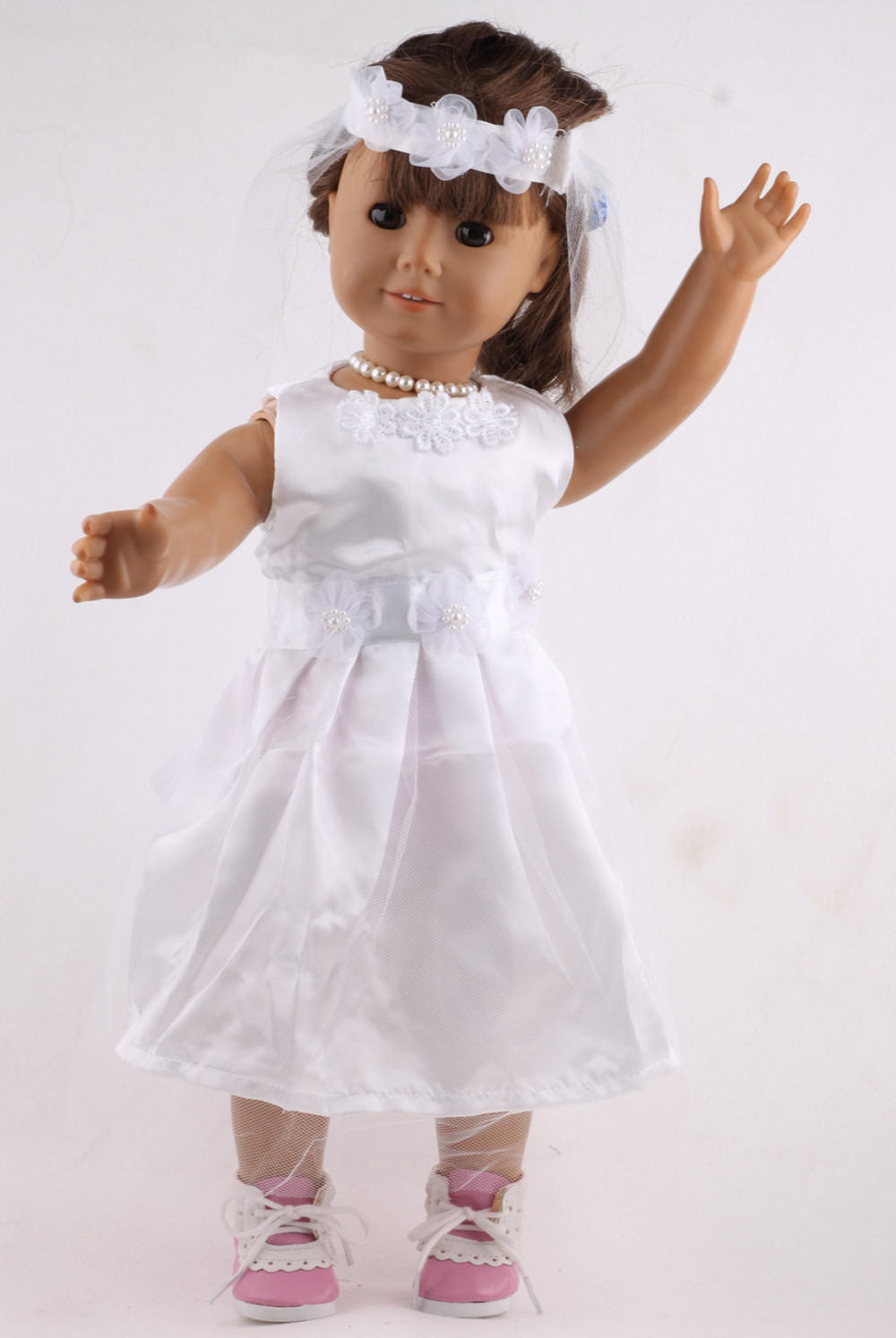 B251 American Girl Doll Clothes White Wedding 18 inch Doll Clothes Madame Alexander Princess Dress painted handmade linen tai chi uniform taijiquan female clothing summer short sleeved wushu kung fu jacket pants